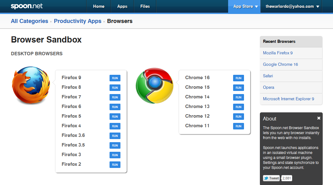 Browser in Sandbox de la Spoon