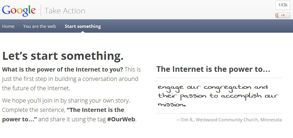 Google porneste o noua intitiva pro-internet – Take action!