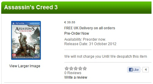 Assassin's Creed 3 si Ghost Recon: Final Mission vin pe Vita?