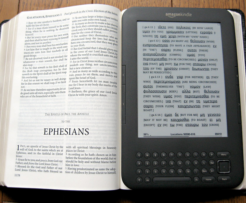 Amazon Kindle, folosit pe post de Biblie
