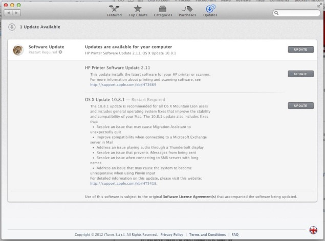 OS X 10.8.1 –  primul update major la Mountain Lion
