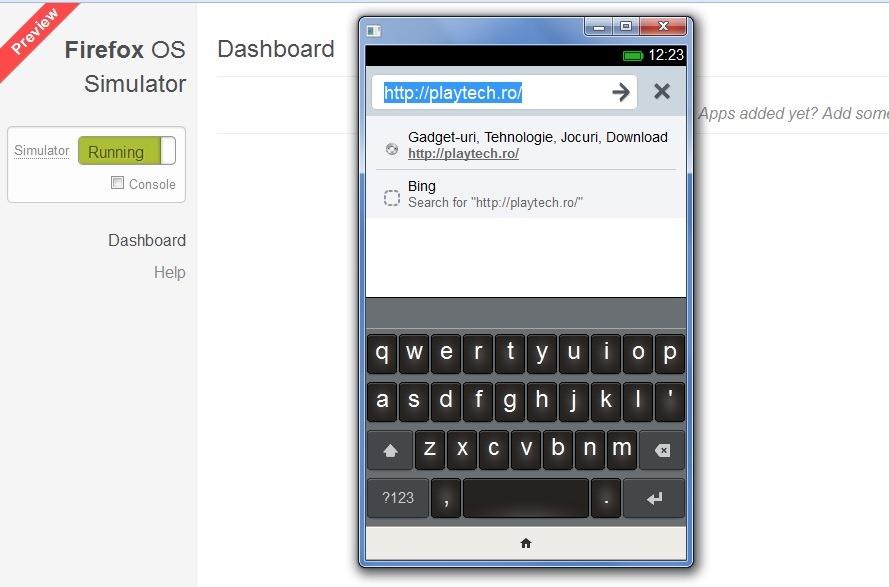Firefox OS 1.0 este disponibil printr-un simulator