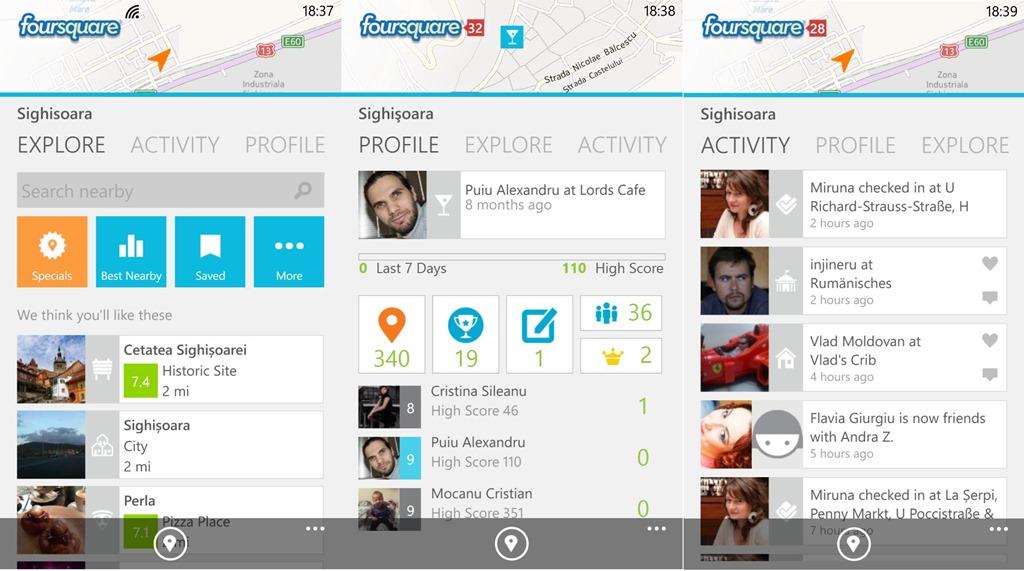 Foursquare pentru Windows Phone se modernizeaza