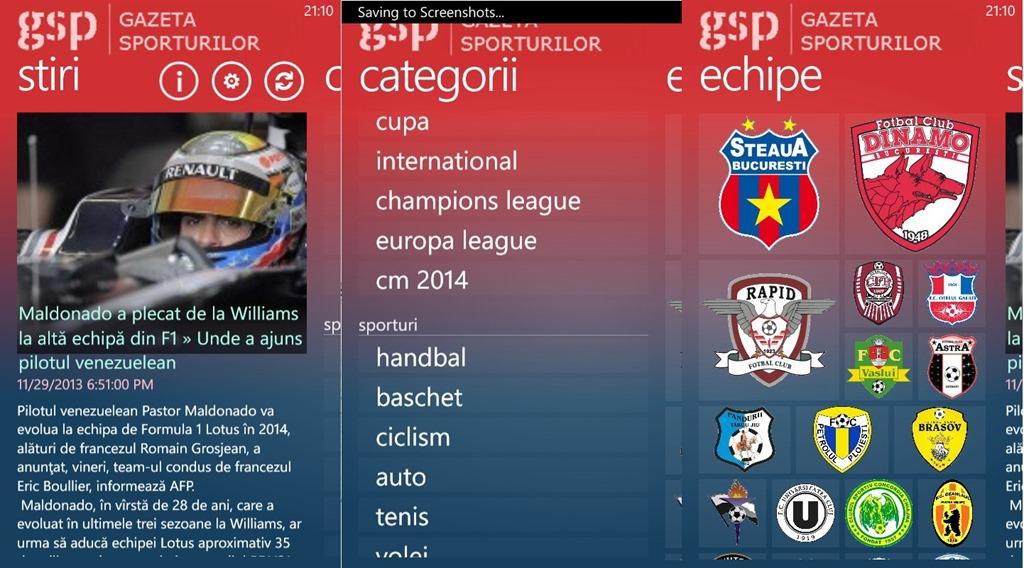 Gazeta Sporturilor ajunge pe Windows Phone