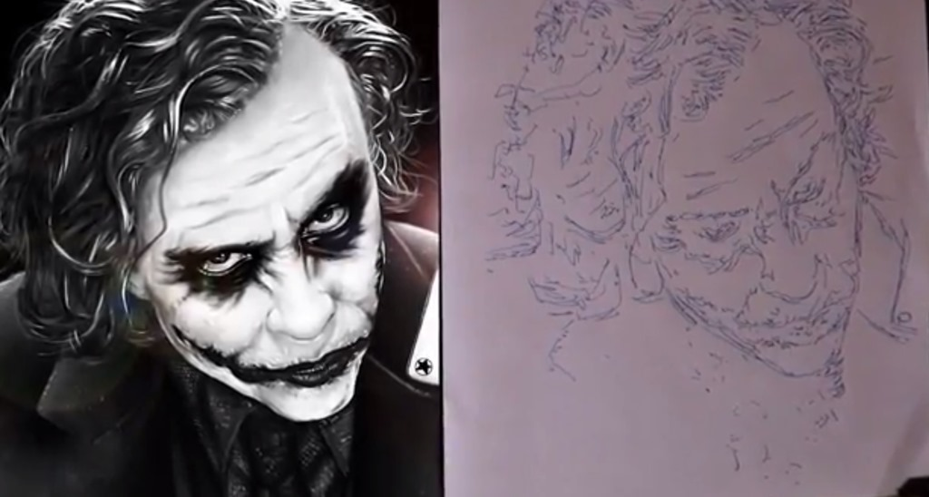 Roboartist desenează Jockerul din The Dark Knight cu un pix [VIDEO]