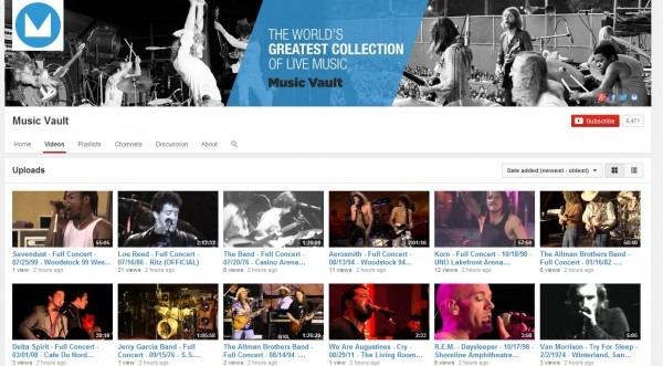 Music Vault vă oferă gratuit pe YouTube 12.000 de concerte senzaţionale