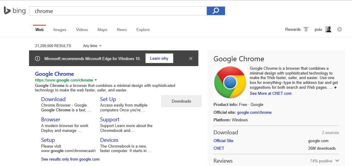 Microsoft vă descurajează să folosiţi Chrome şi Firefox