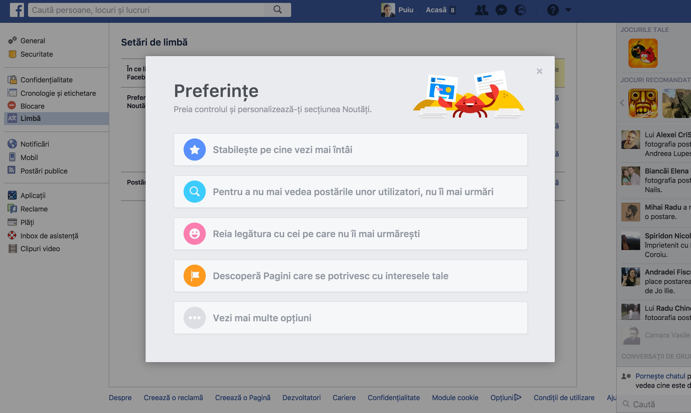 Facebook News Feed Preferințe