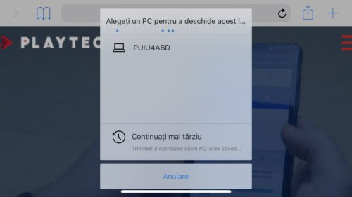 "Cum trimiți linkuri de pe telefon pe Windows 10 cu ""Continue on PC"""